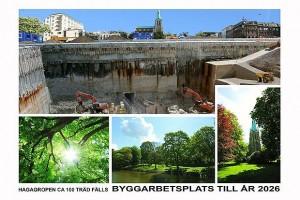Hagagropen, ca 100 träd fälls. Byggarbetsplats till år 2026.