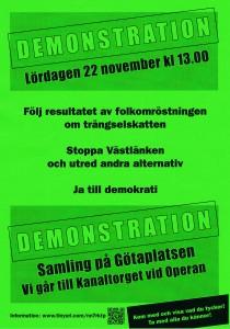 Affisch om demonstration mot trängselskatt och Västlänken 22-nov-2014.