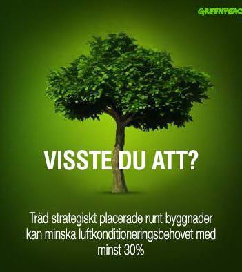 Träd strategiskt placerade runt byggnader kan minska luftkonditioneringsbehovet med minsta 30%.