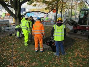 Arkeologiska utgrävningar görs i Allén som en förberedelse för Västlänken. 27 oktober 2015.